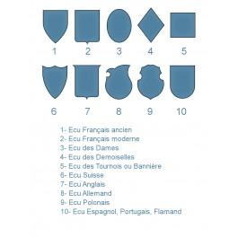 Tampon En Forme d'écu initiales