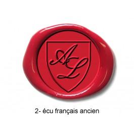Tampon Rond écu gravé et initiales